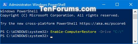 Bật tính năng System Protection cho các ổ trong PowerShell