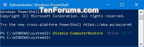 Tắt tính năng System Protection cho các ổ trong PowerShell
