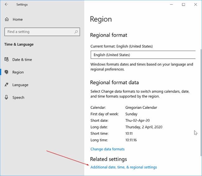 Nhấp vào liên kết Additional date, time, & regional settings
