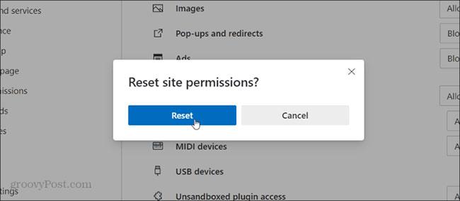 Reset permissions sẽ đưa mọi thứ về cài đặt mặc định