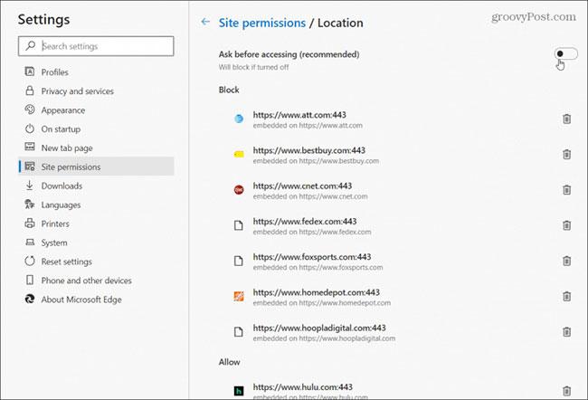 Chọn Site permissions từ bảng điều khiển bên trái