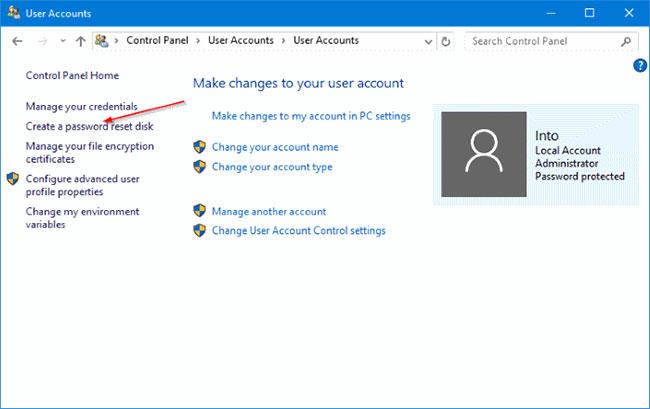 Nhấp vào liên kết có nhãn Create a password reset disk