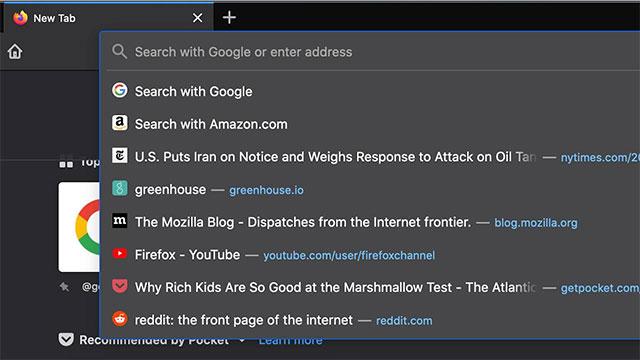 Thanh địa chỉ mới trên Firefox 75