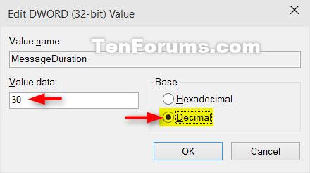 Chọn Decimal, nhập số giây bạn muốn thông báo hiển thị và nhấp vào OK