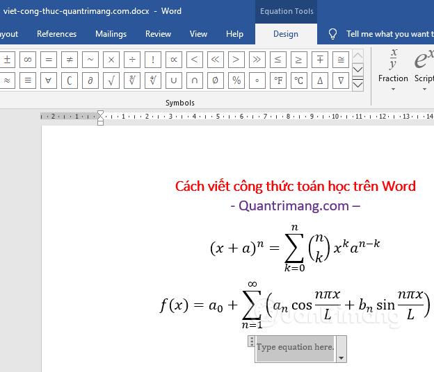 Chèn công thức toán học vào Word