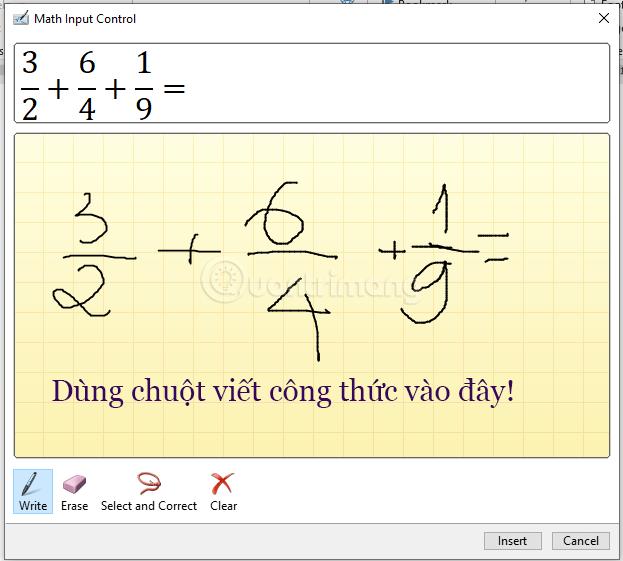 Dùng chuột viết công thức toán học trong khung ô ly vàng