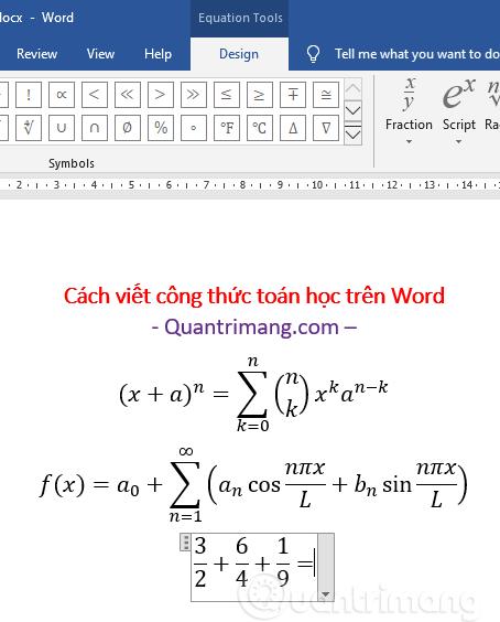 Công thức toán đã được chèn vào Word