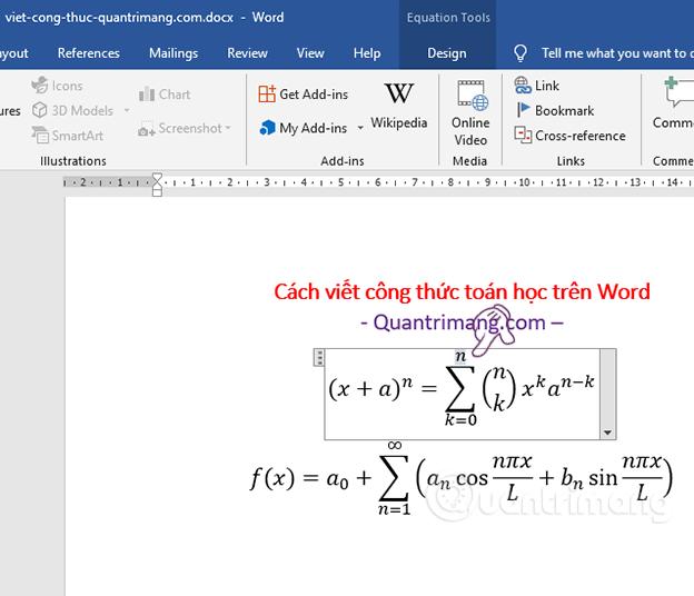 Chỉnh sửa công thức toán học trong Word