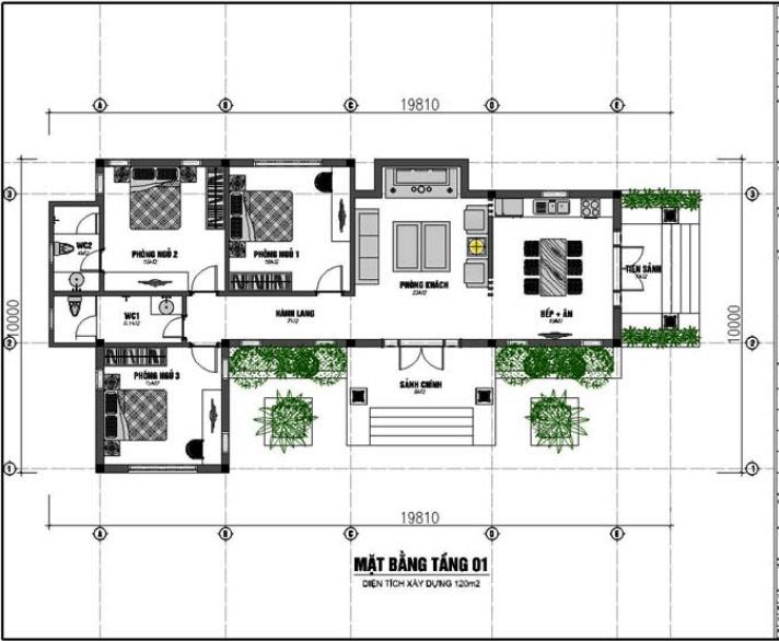 Bản vẽ biệt thự 1 tầng hiện đại, 3 phòng ngủ