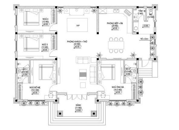 Bản vẽ biệt thự 1 tầng mái thái 4 phòng ngủ