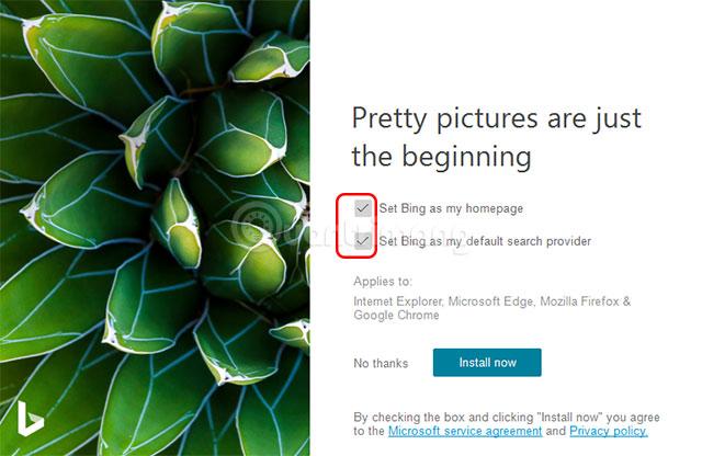 Tùy chọn cài đặt Bing Wallpaper