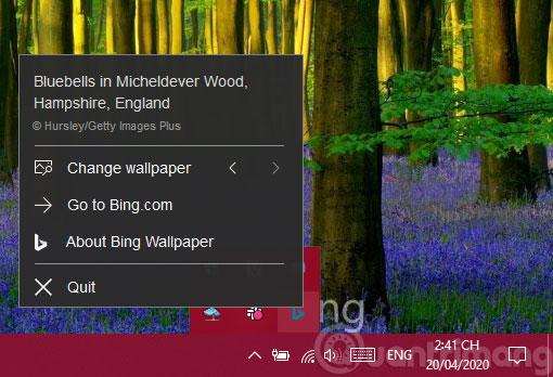 Các tùy chọn của Bing Wallpaper