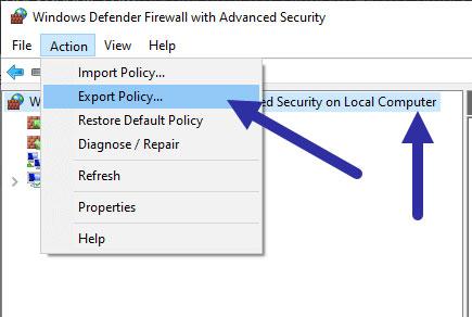 Nhấp vào tùy chọn Action > Export Policy