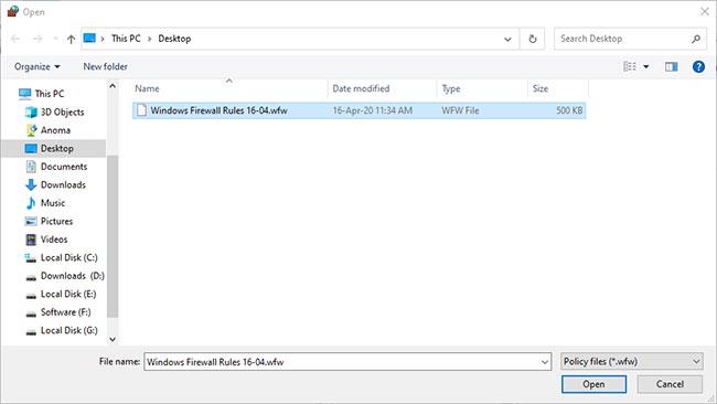 Đi đến nơi lưu file cần nhập, chọn file và nhấp vào nút Open