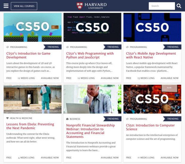 Đại học Harvard mới đây đã mở 64 khóa học trực tuyến miễn phí