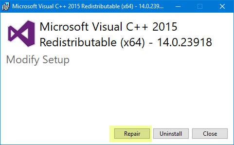 Sửa chữa gói Visual C++ 2015 Redistributable được cài đặt
