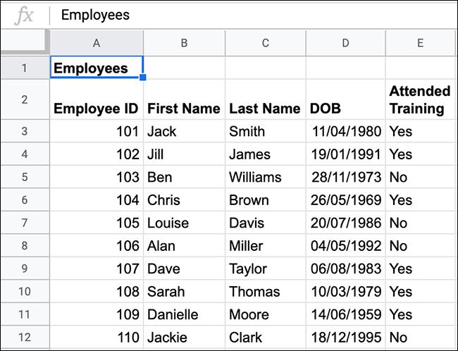 """Bảng tính """"Staff List"""""""