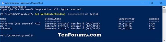 Xem trạng thái hiện tại của IPv6 cho tất cả các Network Adapter