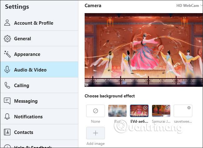 Thiết lập hình nền gọi video