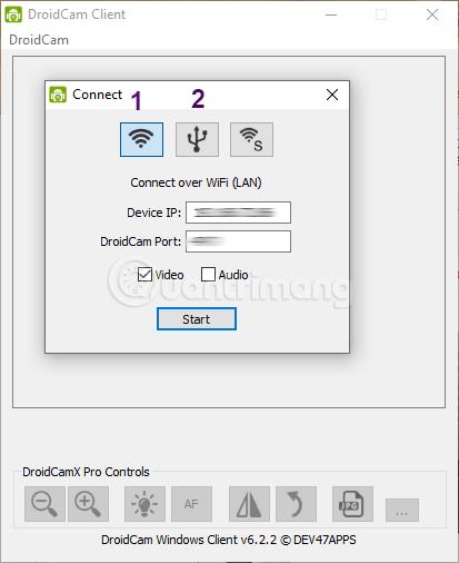 Chọn kiểu kết nối và nhập thông số trên Droidcam