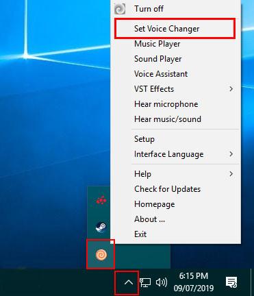 Chọn tùy chọn Set Voice Changer