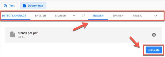 Nhấn nút Translate để bắt đầu quá trình dịch
