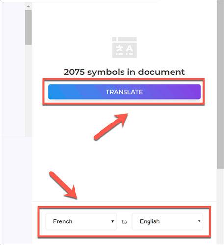 Nhấn nút Translate để bắt đầu dịch tài liệu