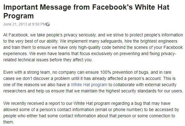 Facebook phát hiện ra có một vụ rò rỉ về thông tin liên lạc trong suốt năm 2013