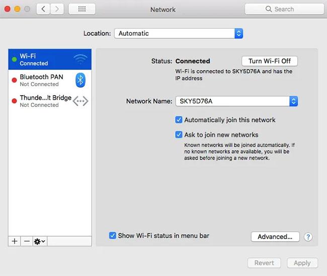 Trong menu bên trái, chọn interface mạng mà bạn hiện đang kết nối