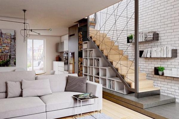 Cầu thang gác lửng nổi bật với thiết kế mới lạ
