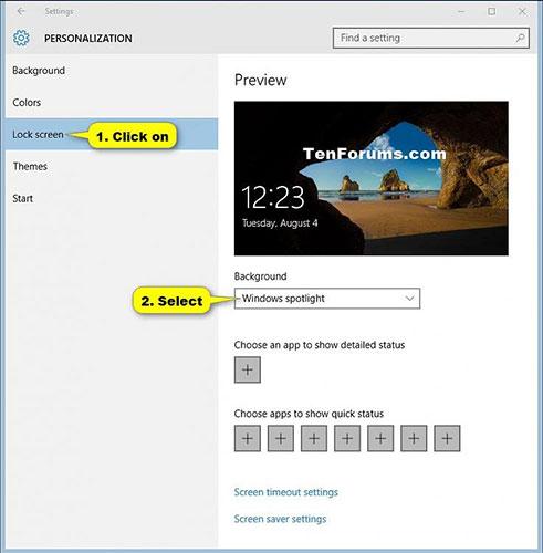 Nhấp vào Lock screen ở phía bên trái, chọn Windows Spotlight trên menu drop-down trong Background