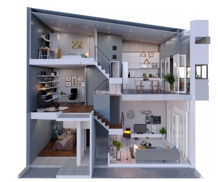 Nhà 2 tầng gác lửng