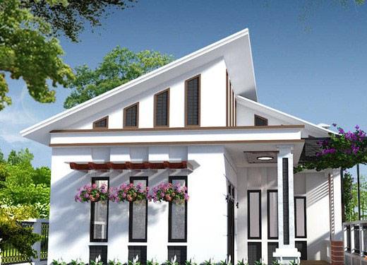 Ngôi nhà cấp 4 mái lệch với phần mái được thiết kế cách tân từ mái thái, ấn tượng với cấu trúc nếp mái lệch tâm, giật cấp