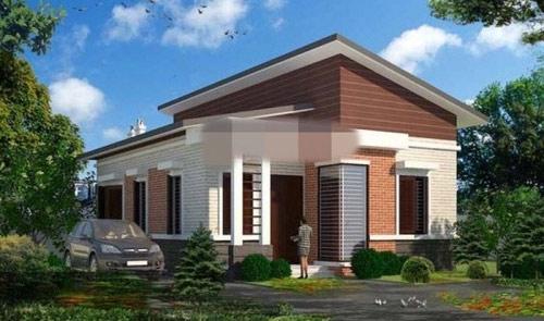 Nhà 1 tầng mái lệch nổi bật với hình khối vuông vắn và cân đối