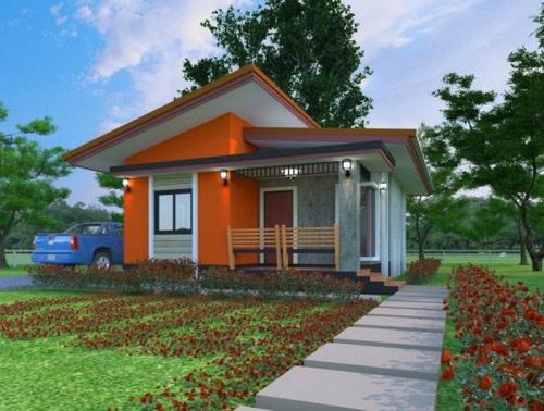 Mẫu nhà cấp 4 mái lệch hiện đại, tươi mới với bức tường màu cam nổi bật thể hiện được cá tính của gia chủ