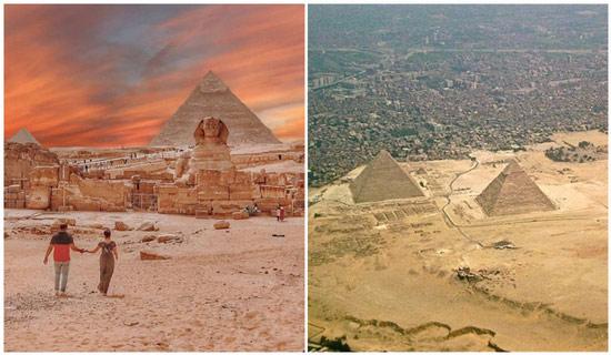 Cứ tưởng xa xôi, hẻo lánh lắm, ai ngờ các kim tự tháp lại gần thành phố đến vậy