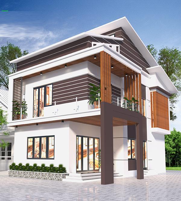 Mẫu nhà 2 tầng mái lệch đẹp 10