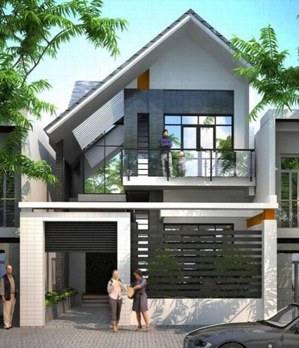 Thiết kế nhà 2 tầng mái lệch ở mặt phố