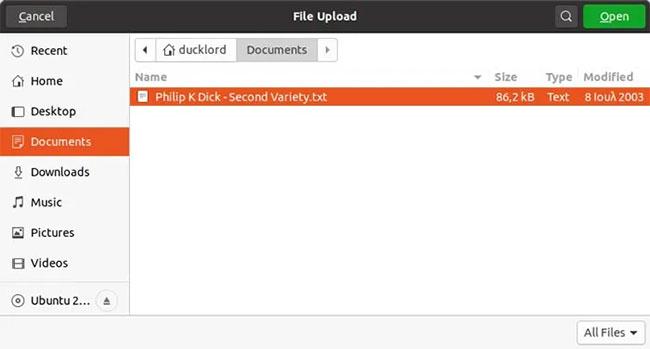 Chọn các file bạn muốn upload