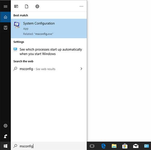 Truy cập MSConfig thông qua Windows Search