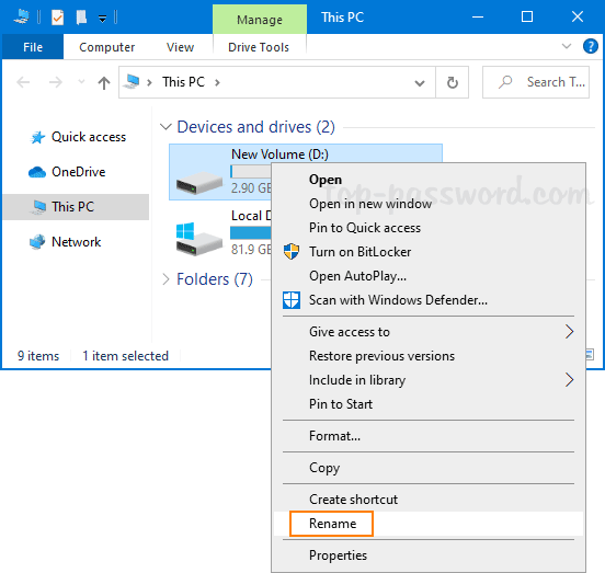 Mở File Explorer, nhấp chuột phải vào ổ đĩa và chọn Rename từ menu ngữ cảnh