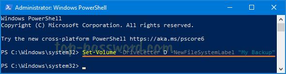 Đổi tên ổ cứng từ PowerShell