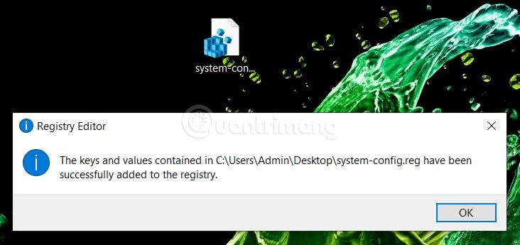 File .reg đã được thêm vào Registry thành công