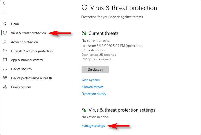 Trong Windows Security, điều hướng đến Virus & Threat Protection