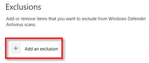 Nhấp vào nút Add An Exclusion