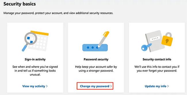 Tìm phần Password security và nhấp vào Change my password