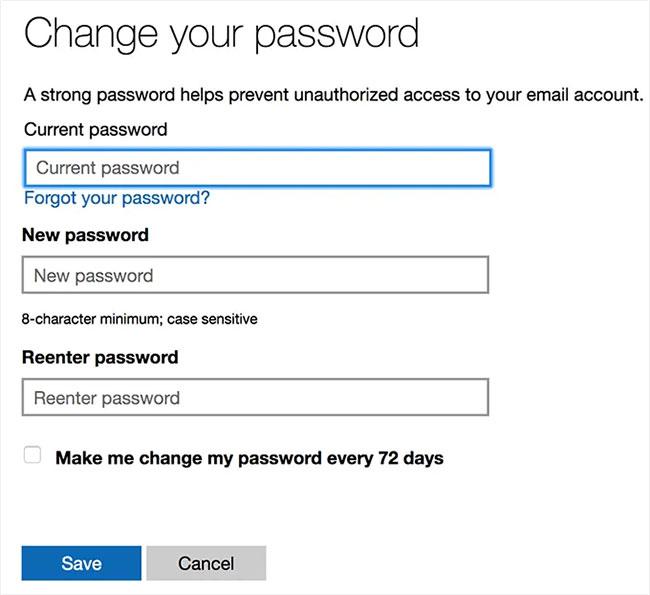 Thay đổi mật khẩu Outlook.com tại đây
