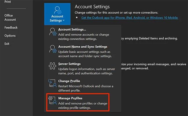 Nhấp vào Account Settings và chọn Manage Profiles