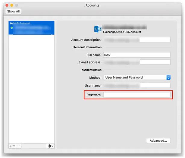 Đặt con trỏ vào trường Password và nhập mật khẩu mới cho tài khoản