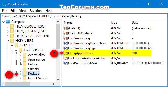Điều hướng đến key ở bên trái của Registry Editor